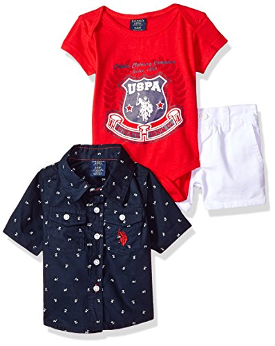 U.S. Polo Assn. Baby Boys Sleeve, T-Shirt and Short Set, Classic Clothing Company Multi Plaid 18M ()