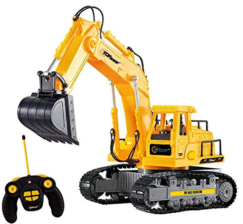Top Race 7 Channel Full Functional RC Excavator, Battery Powered Electric RC Remote Control Construction Tractor With Lights & Sound ()
