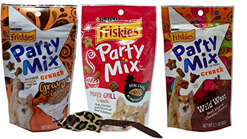 Friskies Party Mix Treats for Cats 3 Flavor Variety with Catnip Toy Bundle, (1) Each: Chicken Gravy-Licious, Mixed Grill Crunch, Wild West (2.1 - Catnip Treat Liver
