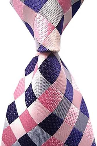 Allbebe Men's Classic Checks Purple Jacquard Woven Silk Tie Business Necktie