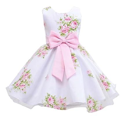 Vestido Niña Boda Imprimir Sin Mangas Princesas Disfraz con Bowknot
