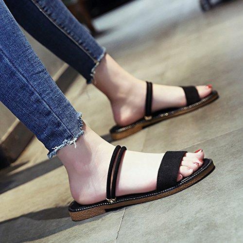 Mujer Sandalias Dedos Plano La de de de Moda Fondo de Nuevo A YMFIE Verano Desgaste 1v5wzwq