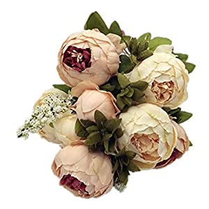 Celine lin Vintage Artificial Peony Silk Flowers Bouquets Floral Home Party Wedding Decoration DIY,Light pink 4
