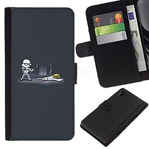 NEECELL GIFT forCITY // Billetera de cuero Caso Cubierta de protección Carcasa / Leather Wallet Case for Sony Xperia Z2 D6502 // Cartoon Starwars