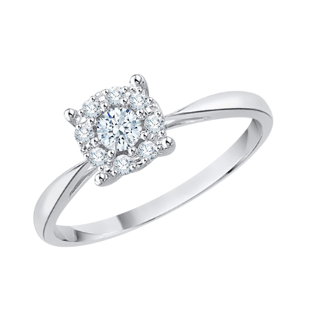Diamond Halo Anniversary Ring in Sterling Silver (1/6 cttw) (I-Color, SI3-I1 Clarity) (Size-7.75)