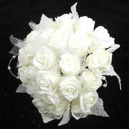 3 Ivory Silk Satin Pearl Corsage /& rose pearl /& organza