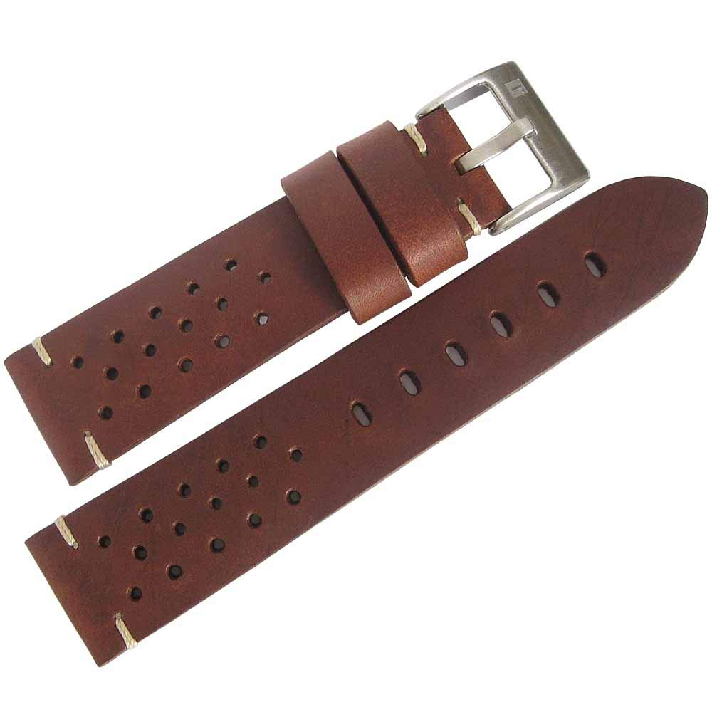 ColaReb 22mm Racing Brown Leather Watch Strap
