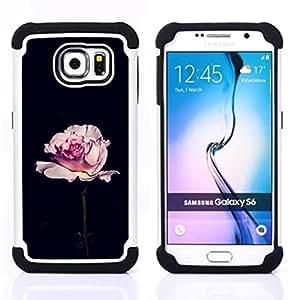 For Samsung Galaxy S6 G9200 - rose black romantic minimalist flower Dual Layer caso de Shell HUELGA Impacto pata de cabra con im????genes gr????ficas Steam - Funny Shop -