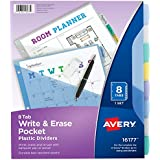 Avery 8-Tab Plastic Binder Dividers with Pockets, Write & Erase Multicolor Big Tabs, 1 Set (16177)