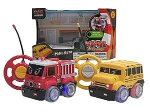 WeGlow International Rival Mini Auto Remote Control School Bus and Fire Truck