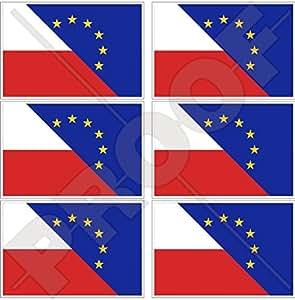 """europe-poland Bandera, eu-pl Europea union-polish 40mm (1,6"""") Mobile teléfono celular Mini de vinilo pegatinas, calcomanías x6"""
