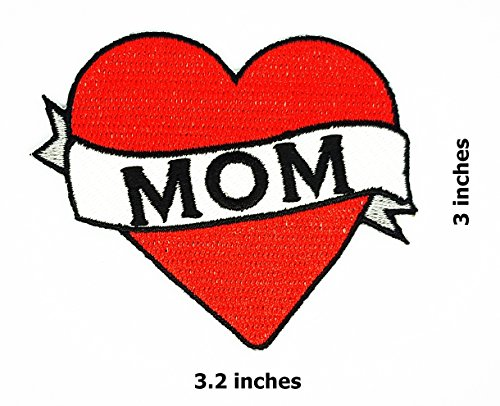 (Mom Red Heart Patch Funny Slogan Joke Rockabilly Embroidered Biker Patch Biker Iron on/Sew on Patch)