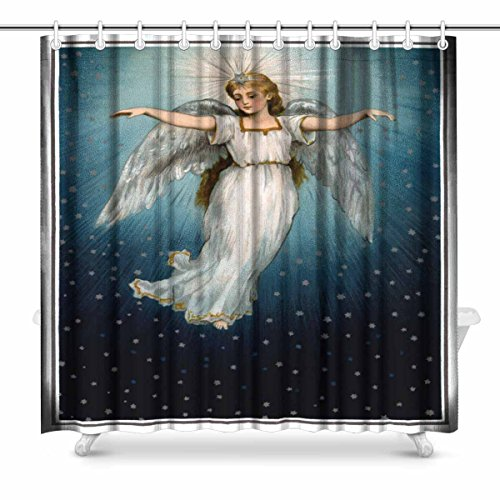 InterestPrint Vintage Christmas of Angel Flying in Starry Night Sky Polyester Fabric Bathroom Shower Curtain 72 x 72 Inches Long