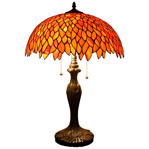 Tiffany Table Lamp Stained Glass Style Beside Desk Lamps 24 Inch Tall 2 Light Pull Chain Red Wisteria Lampshade Antique Base for Living Room Coffee Table Bedroom S523R WERFACTORY ()