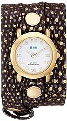 La Mer Collections Women's LMSTWEXL001 Golden Polka Dots Simple Analog Display Quartz Brown Watch