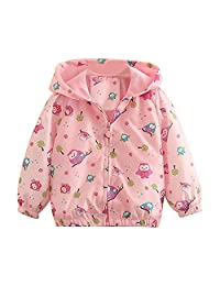 Mud Kingdom Little Girls Colorful Catoon Print Hooded Jacket Outerwear
