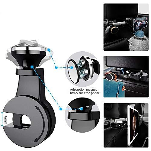 QIBOX Headrest Mount Car Backseat Bag Hanger Hook, 2 Packs Universal Tablet Headrest Mount Organizer Magnetic Compatible with Phone eReader iPad Holder Silver (Left+Right)