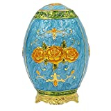 Retro Metal Automatic Toothpick Holder,Push Style Egg Shape Auto Toothpick Case for Home Restaurant Party Decoration,Rose,Blue