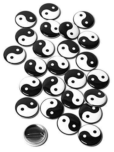 Yang Button - Yin Yang Pinback Buttons - 1 Inch Size - 25 Pack