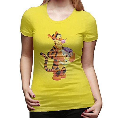 JAX Girl's Design Shirt Cartoon Tiger XL Yellow