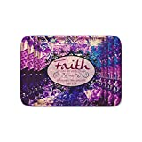Society6 FAITH Colorful Purple Christian Luke Bible Verse Inspiration Believe Floral Modern Typography Art Bath Mat 21'' x 34''