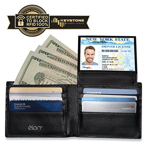 RFID WALLET FOR MEN - Credit Card Protector Against Electronic Theft - Genuine Leather Bifold with the Latest RFID Blocking Technology (Silver Logo)