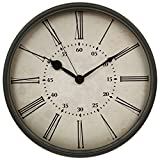 HITO 12 Inches Silent Non-ticking Wall Clock w/ Metal Frame and Acrylic Front Cover (Retro-rom)