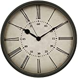 HITO™ 12 Inches Silent Non-ticking Wall Clock w/ Metal Frame, Acrylic Cover (Retro-rom)