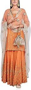 Designer Indian Ethnic Orange Silk Heavy Mirror Work Palazzo Suit Ready to wear Muslim Eid Salwar Kameez OK (6)