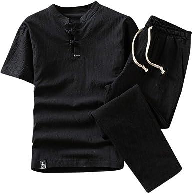 Men Sport Casual Tracksuit Short Sleeve Shirt Sweatsuit Sport Set Long Pant M-XL