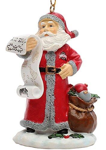 The Memory Company NCAA Ohio State University Naughty/Nice List Santa Ornament, One Size, Multicolor