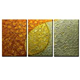 Asdam Art-3panels Hand Painted 3D Oil Painting On Canvas Gold Artwork Picture Modern Home Office Wall Decor Abstract Mix Color Wall Art For Living Room Bedroom Hallway Large Art(16x24inchx3)