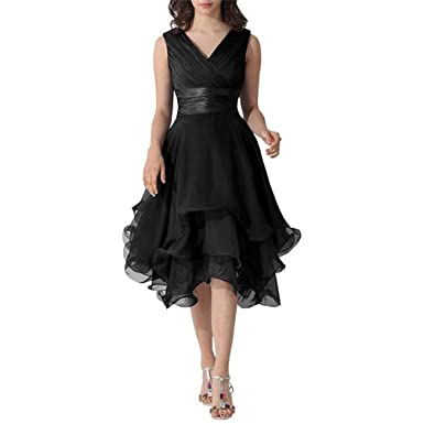 8756e4af25 ModeC Women s V Neck Chiffon Formal Prom Gown Mother of The Bride Dresses  Black US2