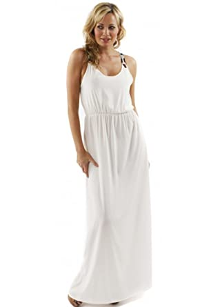 Oh My Love Maxi Leo Contrast Trim White Maxi Dress Small White