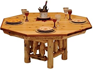 product image for 6-Sided Cedar Log Poker Table - Armor Finish Top - Optional Dining Table Cover in 3 finishes