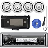 Kenwood KMR-M318BT Marine Boat Audio Bluetooth USB Receiver W/ Protective Cover Bundle Combo With 4x 6.5-Inch 100 Watt 2-Way White Coaxial Speakers + Enrock Radio Antenna + 50 Foot 14g Speaker Wire