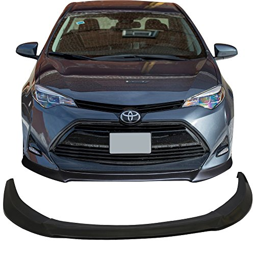 Front Bumper Lip Fits 2017-2019 Toyota Corolla | GT Style Black PU Front Lip Finisher Under Chin Spoiler Add On by IKON MOTORSPORTS ()