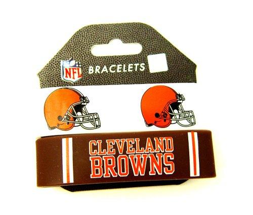 NFL Cleveland Browns Sports Team Logo Rubber Wrist Bands Bracelets Set Of 2
