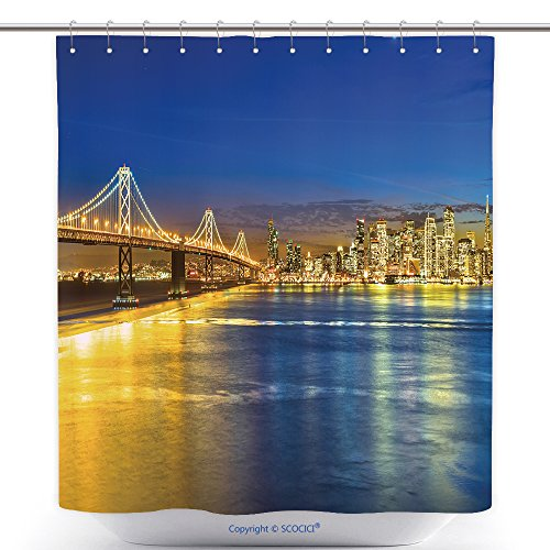 vanfan-Durable Shower Curtains San Francisco Skyline At Night California Usa Polyester Bathroom Shower Curtain Set With Hooks(70 x 78 - Near Outlets Francisco San
