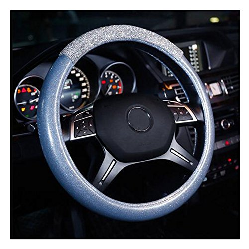 Blue Rhinestone Cover - LuckySHD Anti-Slip Car Steering Wheel Cover with Bling Rhinestones - Blue
