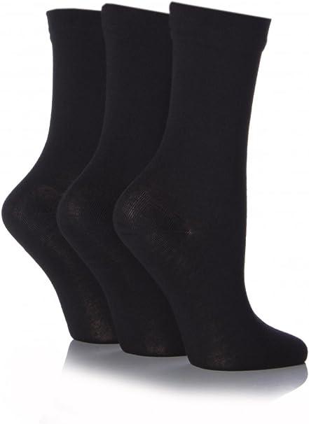 Ladies 3 Pair SockShop Comfort Cuff Bamboo Socks