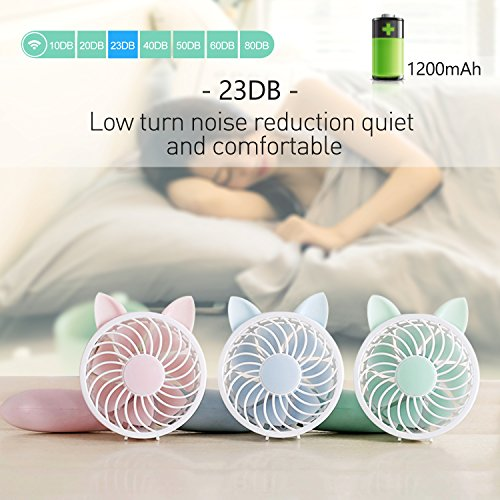 Rechargeable Handheld Fan with 7 Blades and 3 Power Settings Portable for Women Men Kids Light Green by RioRand (Image #5)