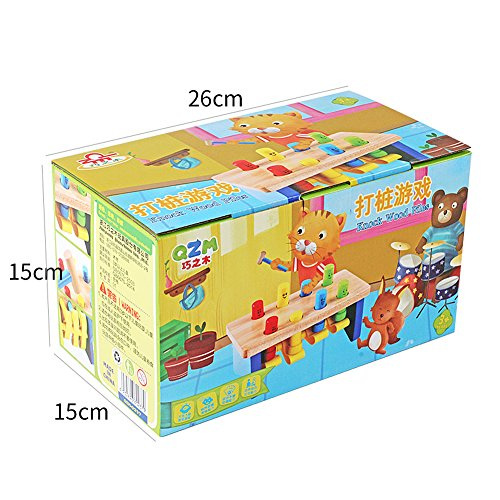 QZM Deluxe Pounding Bench Wooden Toy With Mallet Early Educational Games for Toddlers Kids and Ages 2 years and up by QZM woden toys (Image #4)