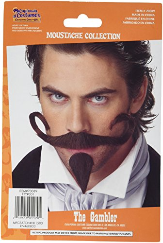 Bar Man Costume (California Costumes Men's The Gambler Moustache & Chin Patch,Brown,One Size Costume Accessory)