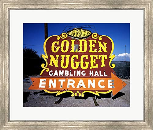Golden Nugget Historic Casino Sign in The Neon Boneyard, Las Vegas Framed Art Print Wall Picture, Silver Scoop Frame, 28 x 24 inches