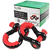 """ALL-TOP Shackles 3/4"""" (2 Pack) D Ring Shackle + Red Isolator - Black Powder Coated Heavy Duty Shackles (28.5 Ton / 57,000 lbs Maximum Break Strength) with 7/8'' Pin. Must-Have Towing Accessories"""