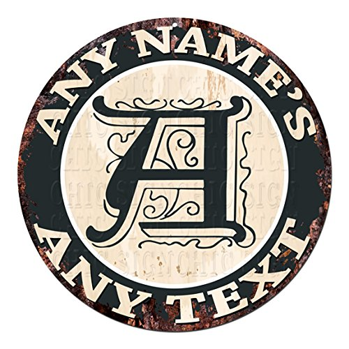 ANY NAME'S ANY TEXT Initial Custom Personalized Chic Tin Sign Rustic Shabby Vintage style Retro Kitchen Bar Pub Coffee Shop man cave Garage Decor Gift Ideas by Generic