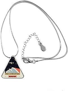 DIYthinker aéroport International de Hong Kong Forme de Triangle Pendentif Collier Bijoux avec chaîne Décoration Cadeau