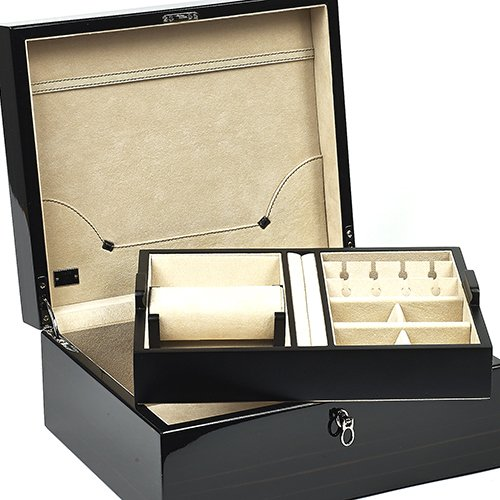 (Bello Collezioni - Florentino Men's/Women's Polished Ebony Luxury Italian Made Box For Cufflinks, Watches & Rings.)
