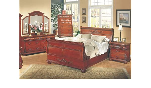Amazon.com: 4PC Queen Anne Style Queen Size Sleigh Bed ...